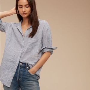 ARITZIA striped button down blouse boyfriend fit